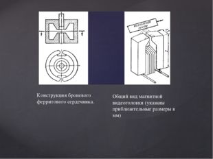 Конструкция броневого ферритового сердечника. Общий вид магнитной видеоголовк