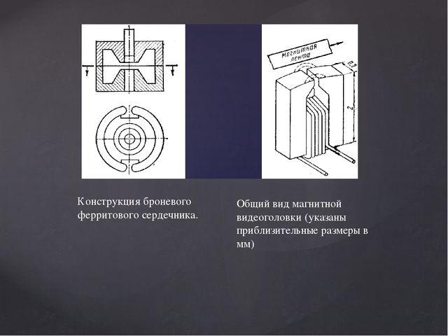 Конструкция броневого ферритового сердечника. Общий вид магнитной видеоголовк...