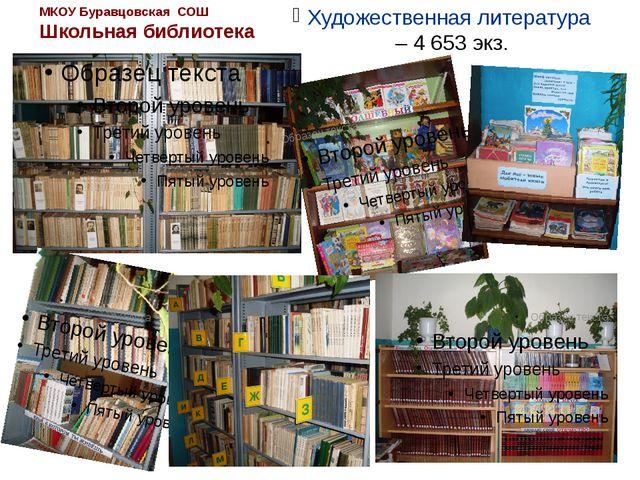 МКОУ Буравцовская СОШ Школьная библиотека Художественная литература – 4 653 э...
