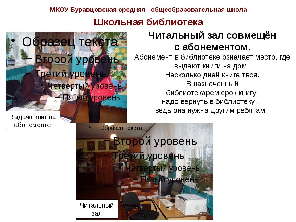 МКОУ Буравцовская средняя общеобразовательная школа Школьная библиотека Выдач...