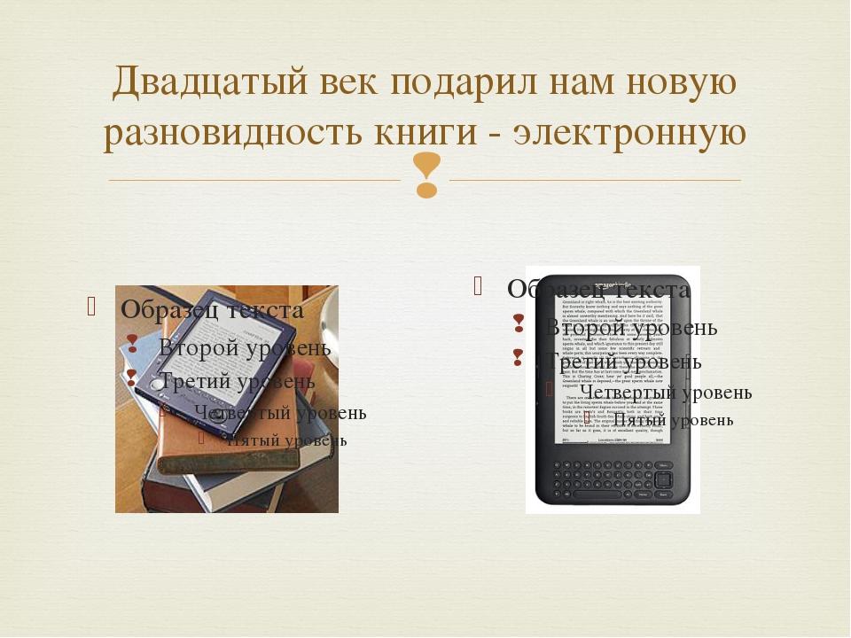 Двадцатый век подарил нам новую разновидность книги - электронную 