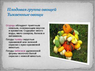 Огурцы обладают приятным нежным, освежающим вкусом и ароматом. Содержат много