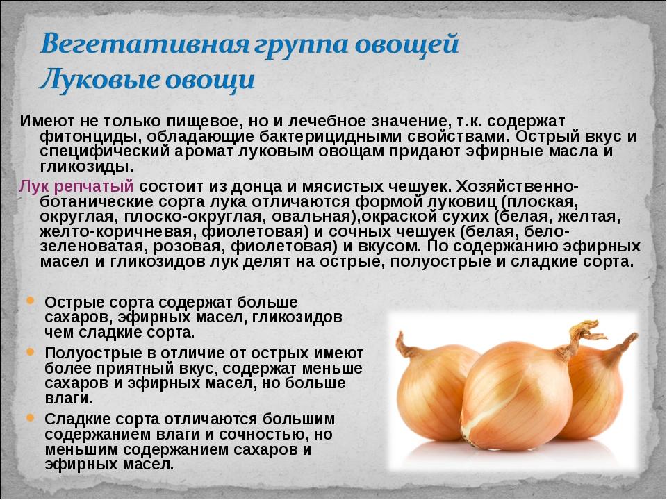 Имеют не только пищевое, но и лечебное значение, т.к. содержат фитонциды, обл...
