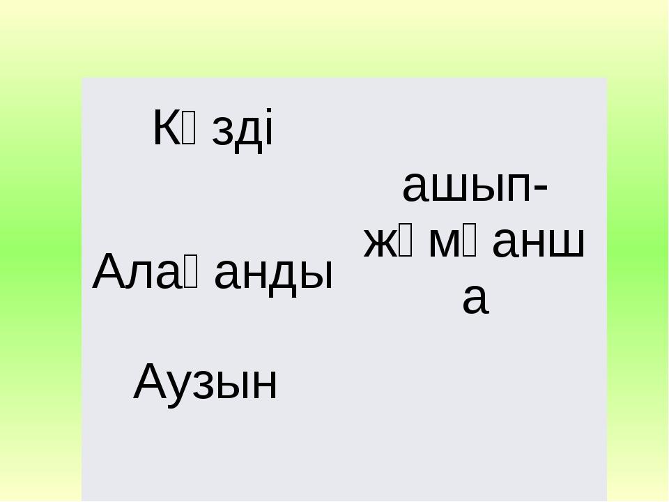 Көзді ашып-жұмғанша Алақанды Аузын