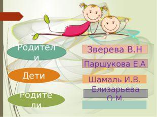 Родители Дети Родители Зверева В.Н Паршукова Е.А Елизарьева О.М. Шамаль И.В.
