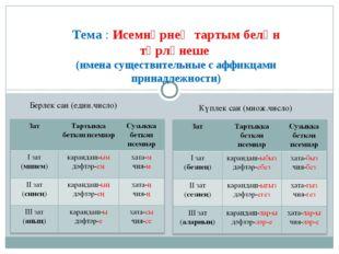 Тема : Исемнәрнең тартым белән төрләнеше (имена существительные с аффикцами п