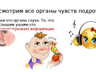 Рассмотрим все органы чувств подробно 1. Уши-это органы слуха. То, что мы слы