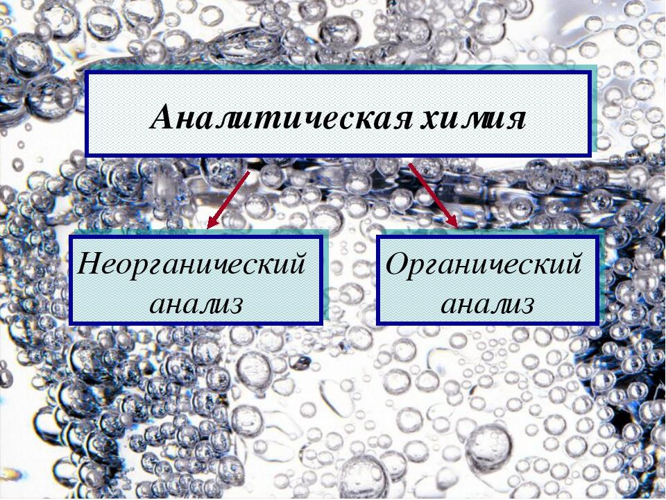 Аналитическая химия Неорганический анализ Органический анализ