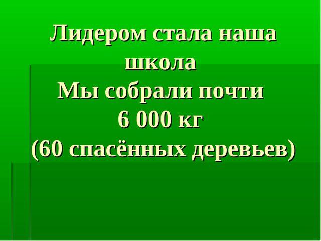 Лидером стала наша школа Мы собрали почти 6000 кг (60 спасённых деревьев)
