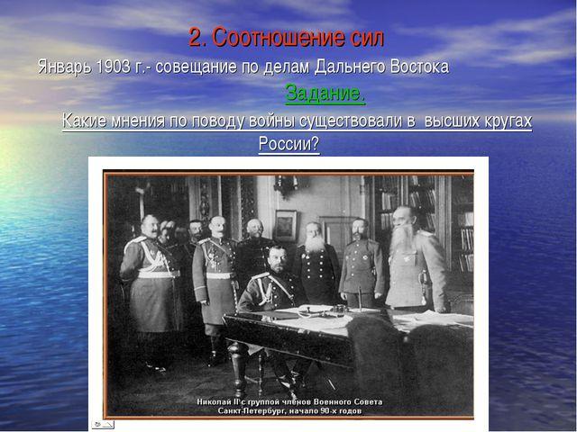 2. Соотношение сил Январь 1903 г.- совещание по делам Дальнего Востока Задани...