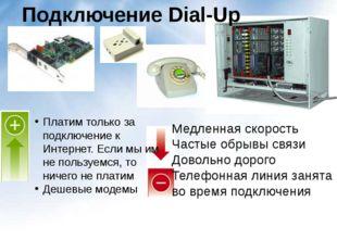 Подключение Dial-Up Платим только за подключение к Интернет. Если мы им не по