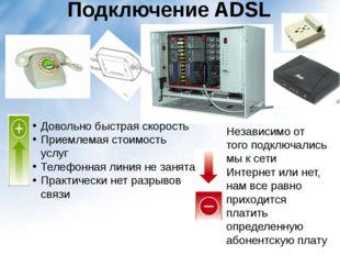 Подключение ADSL Довольно быстрая скорость Приемлемая стоимость услуг Телефон