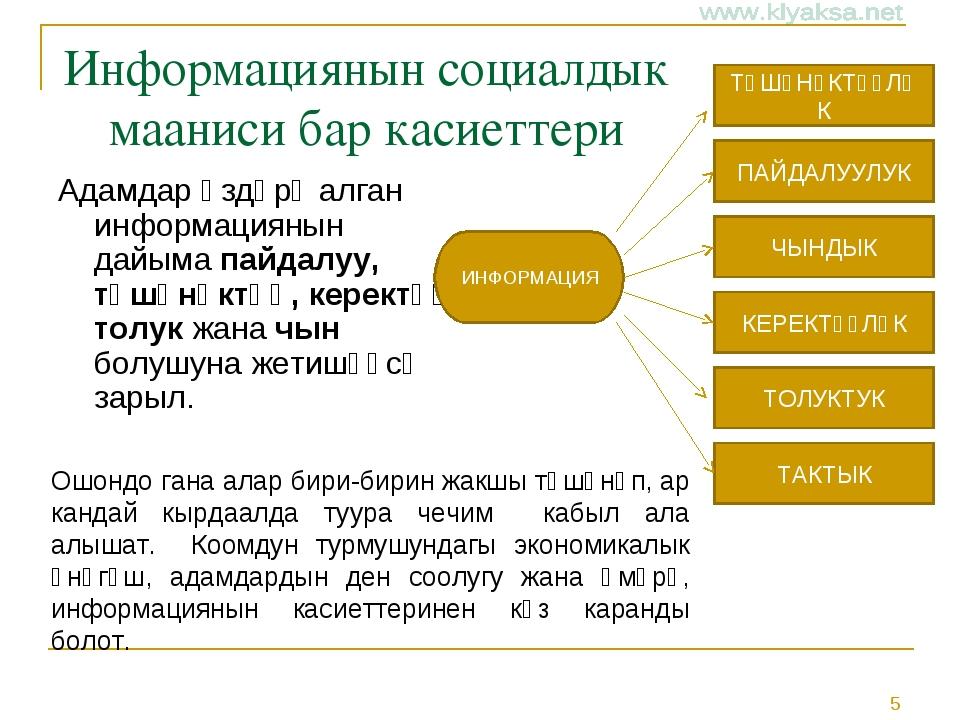Информациянын социалдык мааниси бар касиеттери Адамдар өздөрү алган информаци...