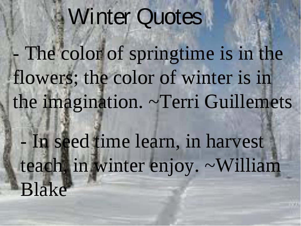 Winter Quotes - In seed time learn, in harvest teach, in winter enjoy. ~Willi...
