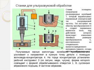 Станки для ультразвуковой обработки Получаемые малые амплитуды колебаний прео
