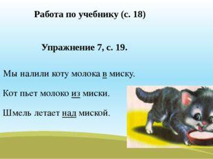 Работа по учебнику (с. 18) Упражнение 7, с. 19. Мы налили коту молока в миску