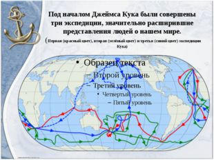 Под началом Джеймса Кука были совершены три экспедиции, значительно расширивш