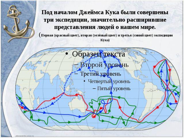 Под началом Джеймса Кука были совершены три экспедиции, значительно расширивш...