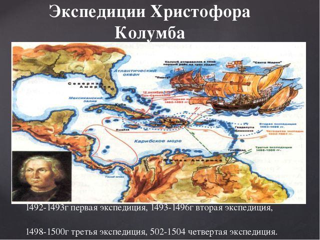 1492-1493г первая экспедиция, 1493-1496г вторая экспедиция, 1498-1500г третья...