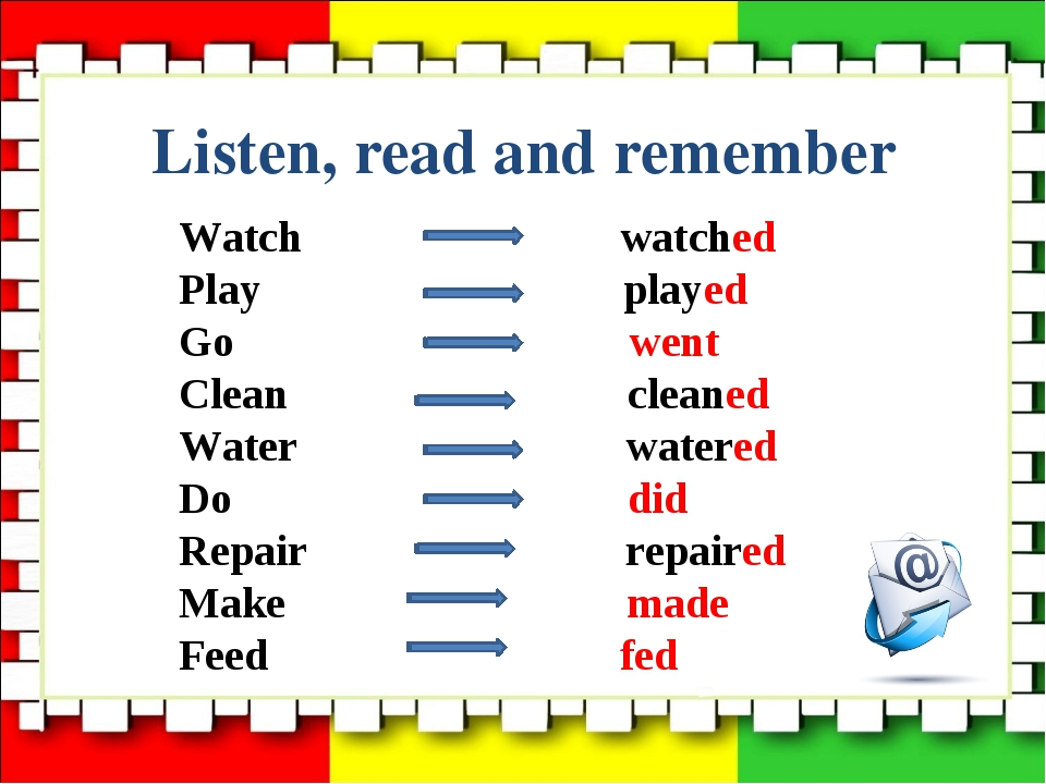 Listen, read and remember Watch watched Play played Go went Clean cleaned Wat...