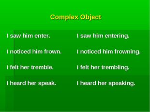 Complex Object  I saw him enter. I noticed him frown. I felt her tremble. I