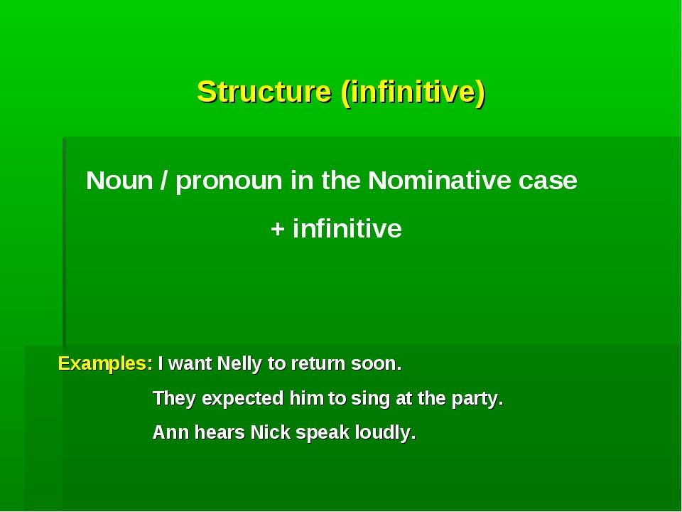 Structure (infinitive) Noun / pronoun in the Nominative case + infinitive Exa...