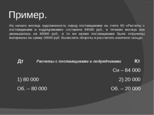 Пример. На начало месяца задолженность перед поставщиками на счете 60 «Расчет