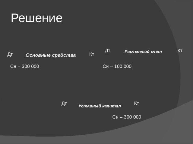 Решение Основные средства Расчетный счет Уставный капитал Сн – 300 000 Сн – 1...