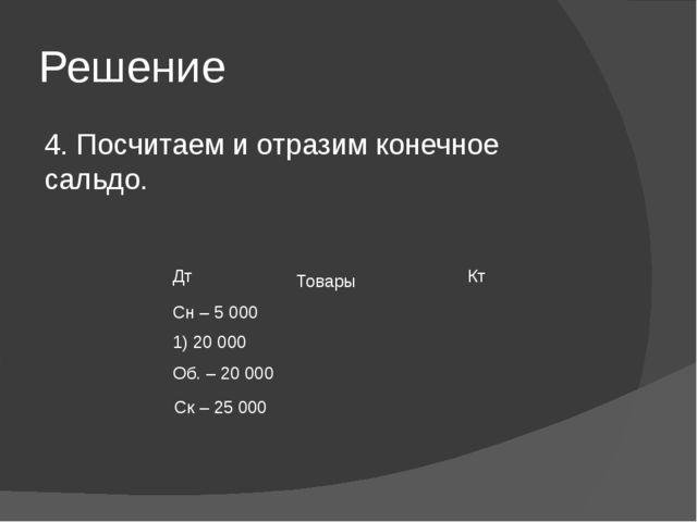 Решение 4. Посчитаем и отразим конечное сальдо. Товары Ск – 25 000 Дт Кт Сн–5...