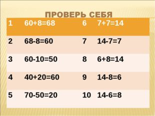 160+8=6867+7=14 268-8=60714-7=7 360-10=5086+8=14 440+20=60914-8=6