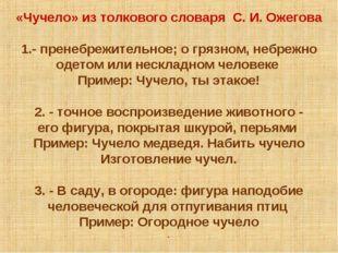 «Чучело» из толкового словаря С. И. Ожегова  1.- пренебрежительное; о грязно