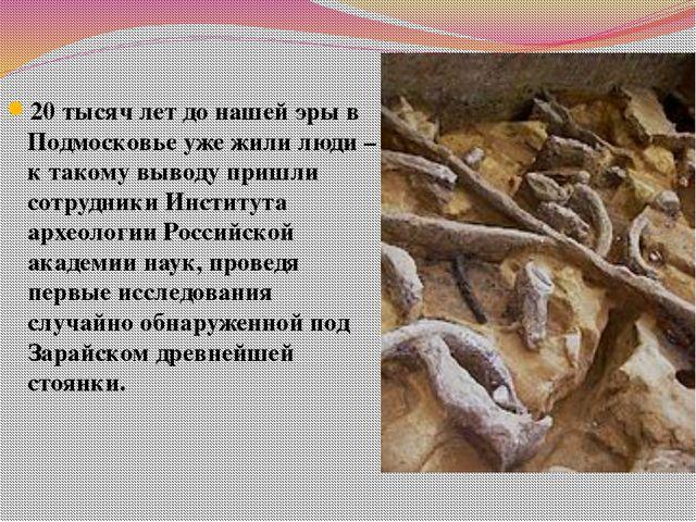 20 тысяч лет до нашей эры в Подмосковье уже жили люди – к такому выводу пришл...