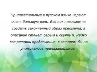 Прилагательные в русском языке играют очень большую роль. Без них невозможно