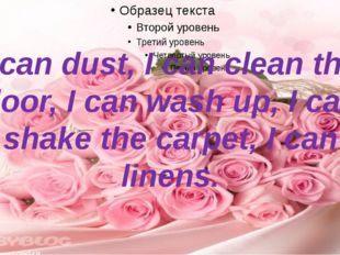 I can dust, I can clean the floor, I can wash up, I can shake the carpet, I c