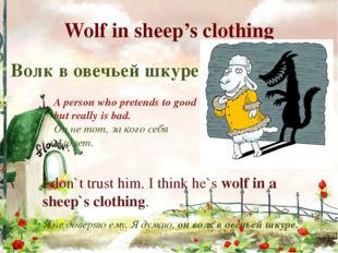 Wolf in sheep's clothing I don`t trust him. I think he`s wolf in a sheep`s cl