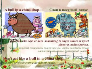 Слон в посудной лавке A bull in a china shop A person who says or does someth