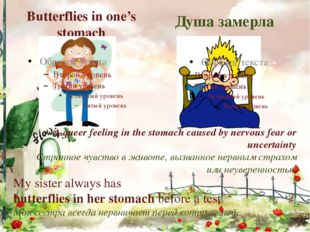 Butterflies in one's stomach Душа замерла A queer feeling in the stomach caus