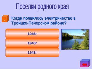 Когда появилось электричество в Троицко-Печорском районе? 1948г 1943г 1946г 1