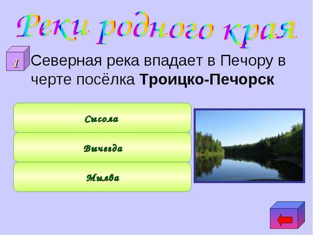 Северная река впадает в Печору в черте посёлка Троицко-Печорск Мылва Вычегда...