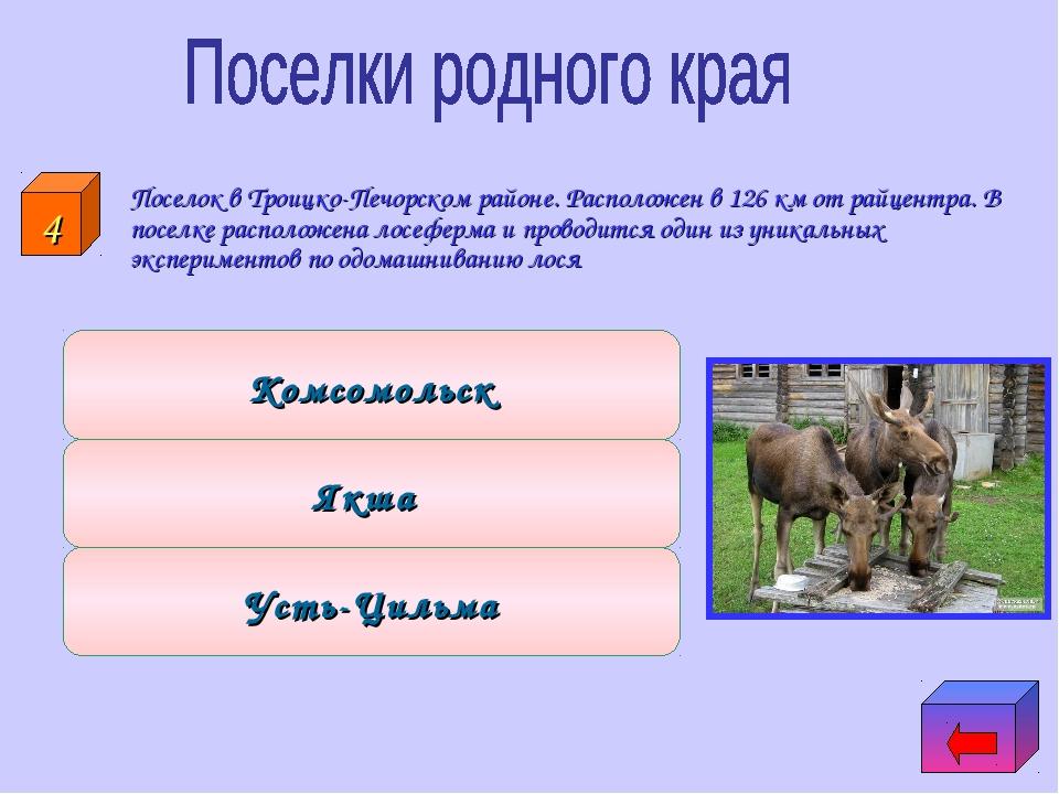Поселок в Троицко-Печорском районе. Расположен в 126 км от райцентра. В посе...