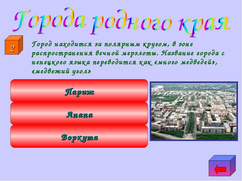 Город находится за полярным кругом, в зоне распространения вечной мерзлоты....