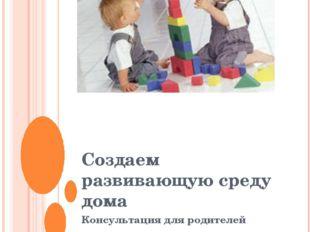 Создаем развивающую среду дома Консультация для родителей