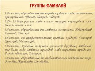 1.Фамилии, образованные от народных форм имён, полученных при крещении: Ивано