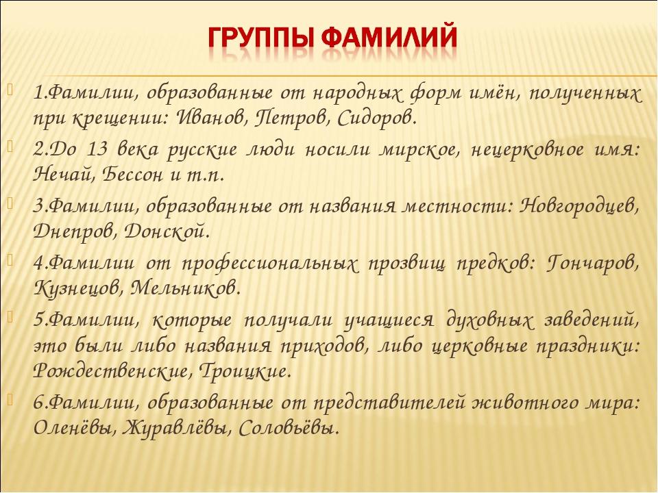 1.Фамилии, образованные от народных форм имён, полученных при крещении: Ивано...