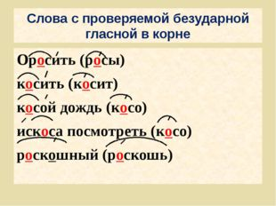 Слова с проверяемой безударной гласной в корне Оросить (росы) косить (косит)