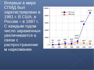 Впервые в мире СПИД был зарегистрирован в 1981 г. В США, в России – в 1987 г.