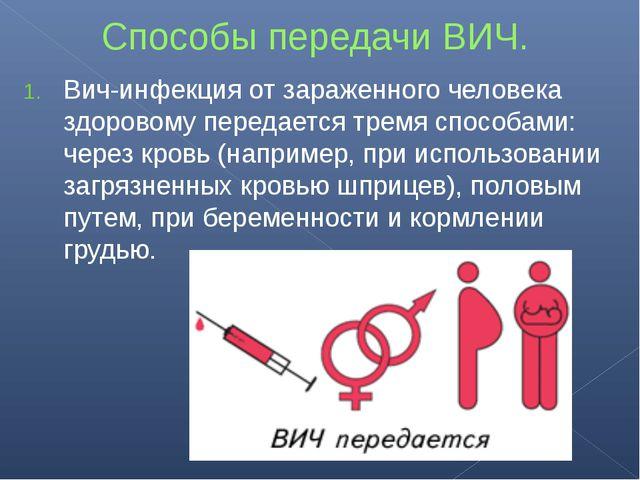 Способы передачи ВИЧ. Вич-инфекция от зараженного человека здоровому передает...