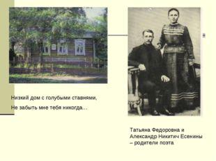 Низкий дом с голубыми ставнями, Не забыть мне тебя никогда… Татьяна Федоровна