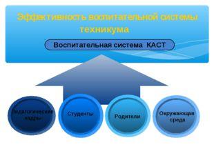 Эффективность воспитательной системы техникума Воспитательная система КАСТ Пе