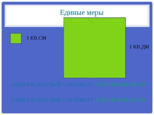 Единые меры ОДИН КВАДРАТНЫЙ САНТИМЕТР -1 КВ.СМ ИЛИ КВ.СМ ОДИН КВАДРАТНЫЙ САНТ